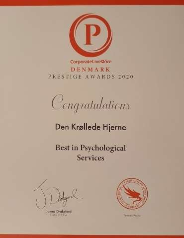 Certifikat Den Krøllede Hjerne - Best in Psychological Services